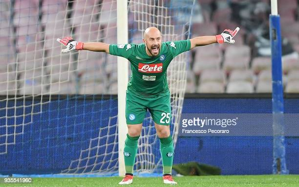 Pepe Reina goalkeeper of SSC Napoli gestures during the serie A match between SSC Napoli v Genoa CFC at Stadio San Paolo on March 18 2018 in Naples...