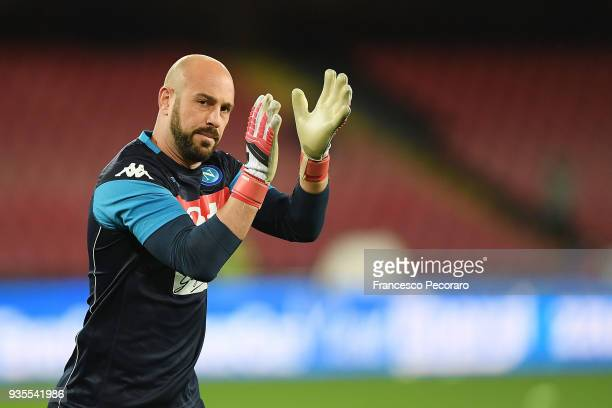 Pepe Reina goalkeeper of SSC Napoli waves the fans during the serie A match between SSC Napoli v Genoa CFC at Stadio San Paolo on March 18 2018 in...