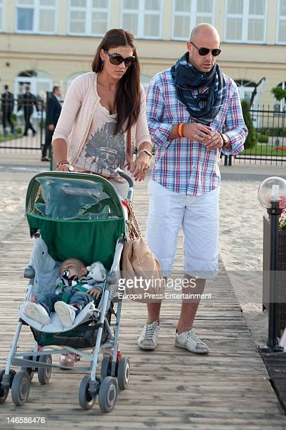 Pepe Reina his wife Yolanda Ruiz and sons Luca Reina and Alma Reina are seen on June 19 2012 in Sopot Poland