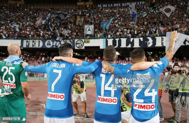 Pepe Reina Jose Callejon Dries Mertens and Lorenzo Insigne players of SSC Napoli celebrates the victory after the Serie A match between SSC Napoli...