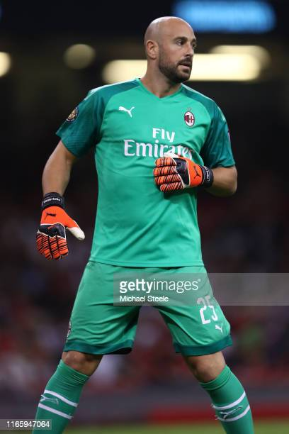 Pepe Reina of AC Milan during the 2019 International Champions Cup match between Manchester United and AC Milan at Principality Stadium on August 03...