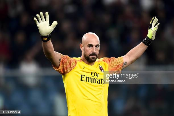 Pepe Reina of AC Milan gestures during the Serie A football match between Genoa CFC and AC Milan. AC Milan won 2-1 over Genoa CFC.