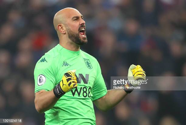 Pepe Reina of Aston Villa celebrates his sides first goal during the Premier League match between Aston Villa and Watford FC at Villa Park on January...