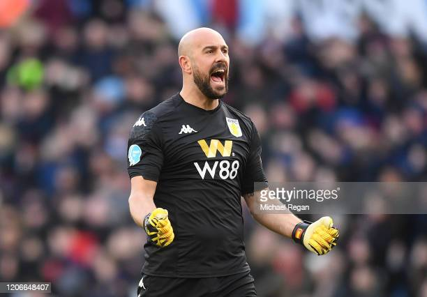 Pepe Reina of Aston Villa celebrates his sides second goal scored by Bjorn Engels during the Premier League match between Aston Villa and Tottenham...