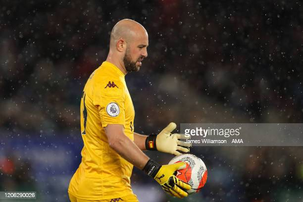 Pepe Reina of Aston Villa during the Premier League match between Leicester City and Aston Villa at The King Power Stadium on March 9 2020 in...