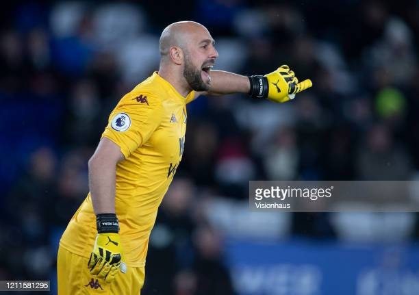 Pepe Reina of Aston Villa during the Premier League match between Leicester City and Aston Villa at The King Power Stadium on March 09 2020 in...