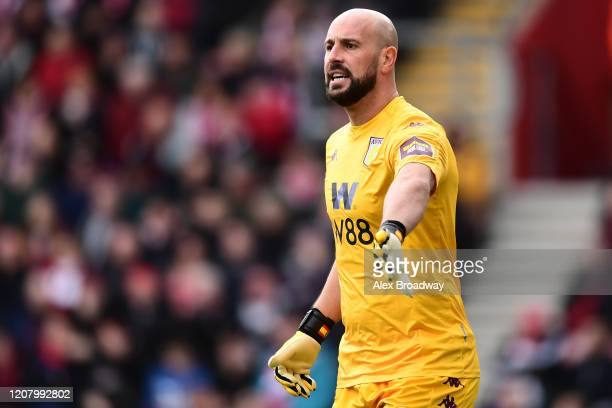 Pepe Reina of Aston Villa gestures during the Premier League match between Southampton FC and Aston Villa at St Mary's Stadium on February 22 2020 in...