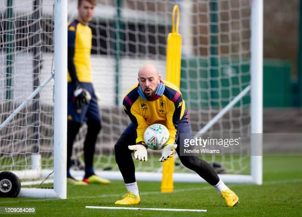 Pepe Reina of Aston Villa in action during a training session at Bodymoor Heath training ground on February 27 2020 in Birmingham England
