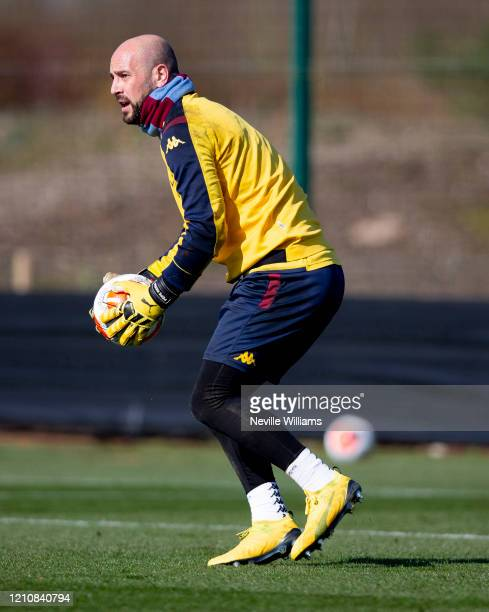Pepe Reina of Aston Villa in action during a training session at Bodymoor Heath training ground on March 06 2020 in Birmingham England