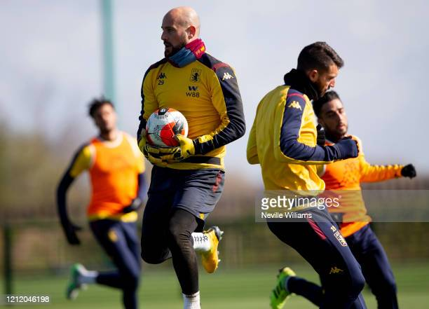 Pepe Reina of Aston Villa in action during a training session at Bodymoor Heath training ground on March 12 2020 in Birmingham England