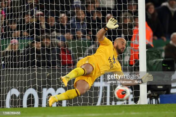 Pepe Reina of Aston Villa is unable to stop the penalty of Jamie Vardy of Leicester City during the Premier League match between Leicester City and...