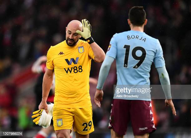 Pepe Reina of Aston Villa looks dejected following his sides defeat in the Premier League match between Southampton FC and Aston Villa at St Mary's...
