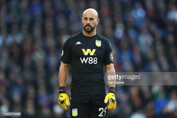 Pepe Reina of Aston Villa looks on during the Premier League match between Brighton & Hove Albion and Aston Villa at American Express Community...