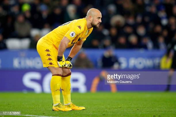 Pepe Reina of Aston Villa looks on during the Premier League match between Leicester City and Aston Villa at The King Power Stadium on March 09 2020...