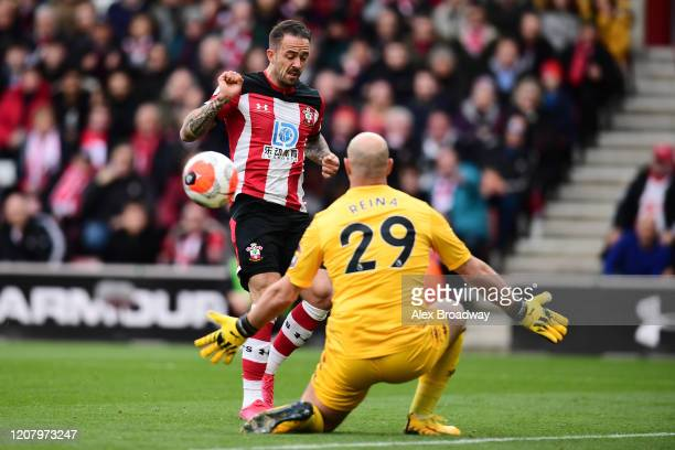Pepe Reina of Aston Villa makes a save from Danny Ings of Southampton during the Premier League match between Southampton FC and Aston Villa at St...