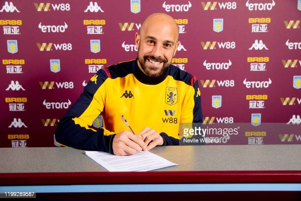 Pepe Reina of Aston Villa poses for a picture at the Aston Villa Bodymoor Heath training ground on January 13 2020 in Birmingham England