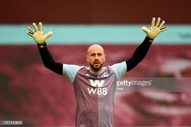 Pepe Reina of Aston Villa warms up ahead of the Premier League match between Aston Villa and Arsenal FC at Villa Park on July 21, 2020 in Birmingham,...