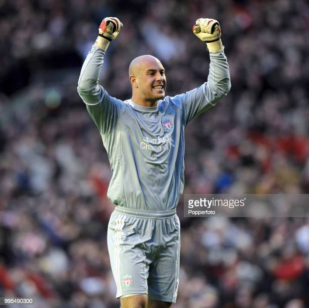 Pepe Reina of Liverpool celebrates during the Barclays Premier League match between Liverpool and Chelsea at Anfield on November 7 2010 in Liverpool...