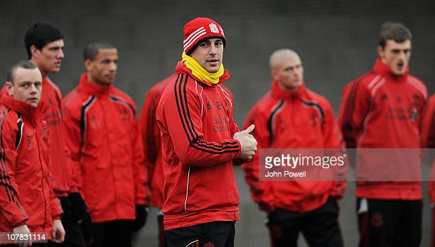 Pepe Reina of Liverpool during a training session at Melwood Training Ground on December 31, 2010 in Liverpool, England.