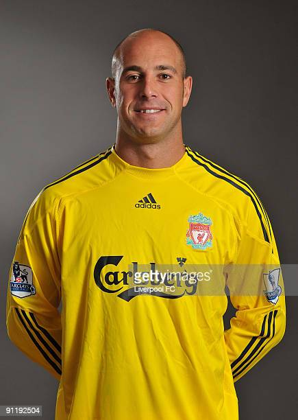Pepe Reina of Liverpool FC poses during a Liverpool FC 2009/2010 season photocall in Liverpool England