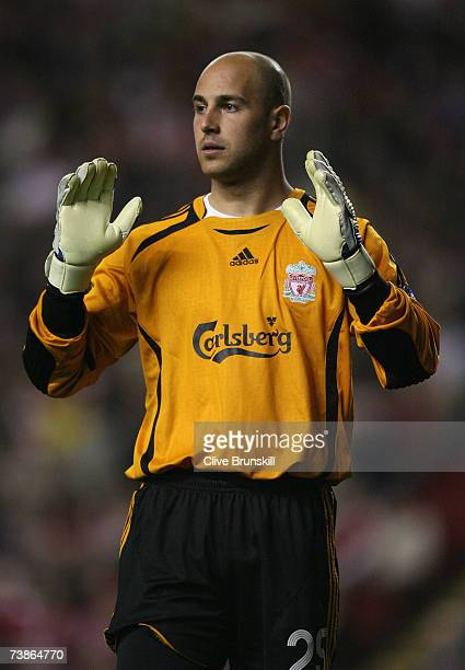 Pepe Reina of Liverpool gestures during the UEFA Champions League Quarter Final, second leg match between Liverpool and PSV Eindhoven at Anfield on...