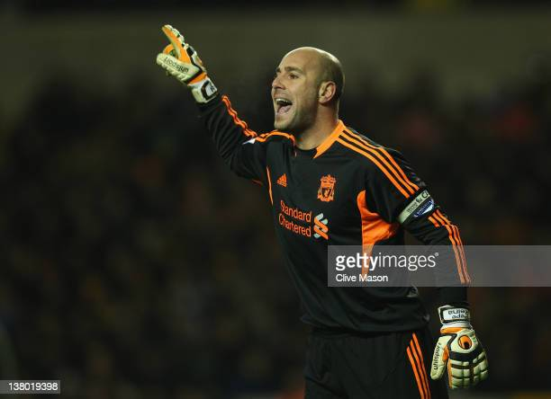Pepe Reina of Liverpool gives orders during the Barclays Premier League match between Wolverhampton Wanderers and Liverpool at Molineux on January 31...