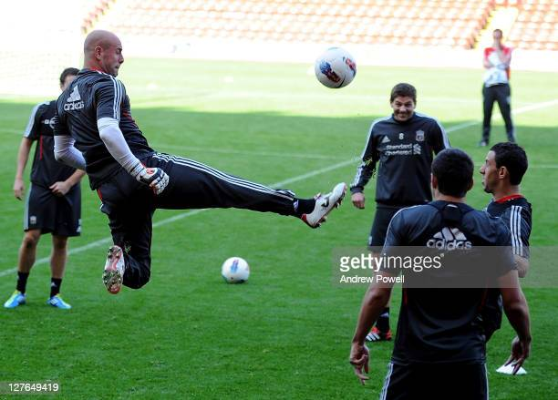 Pepe Reina of Liverpool in action during a training session at Anfield on September 30 2011 in Liverpool England