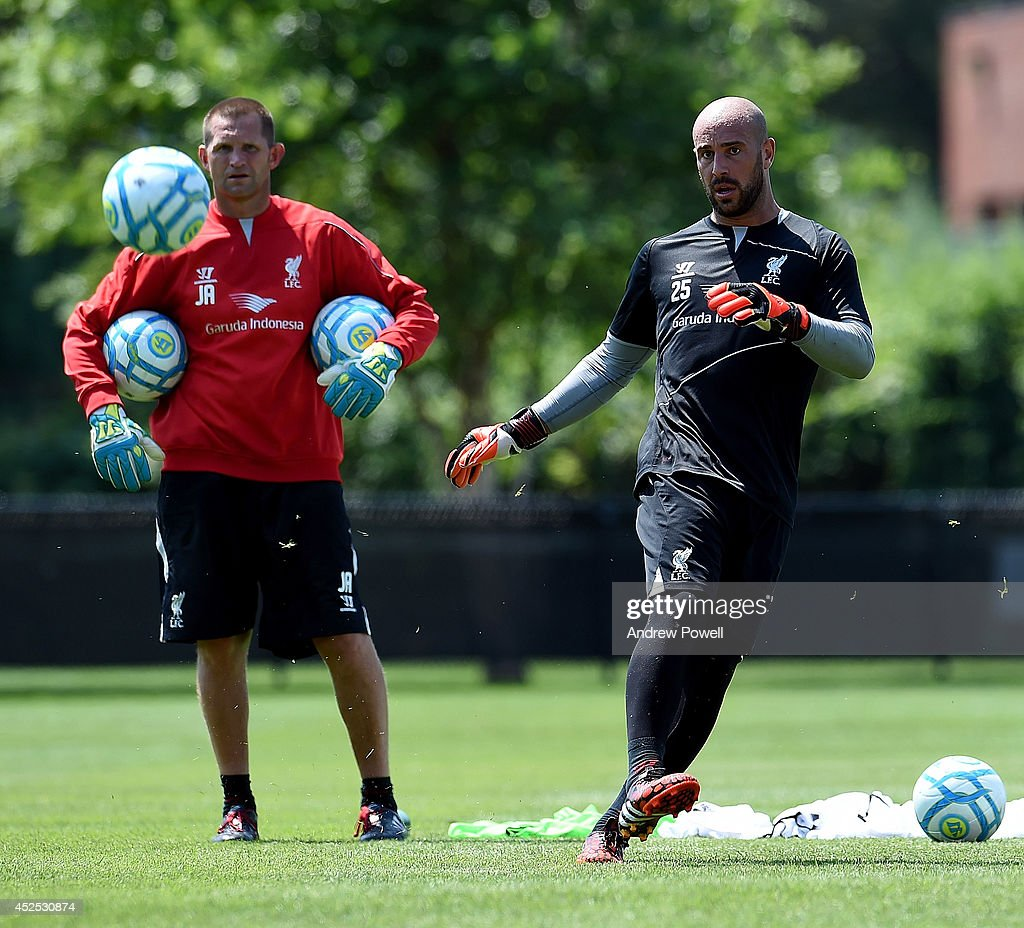 Pepe Reina of Liverpool in action during a training session at Harvard University on July 22, 2014 in Cambridge, Massachusetts.
