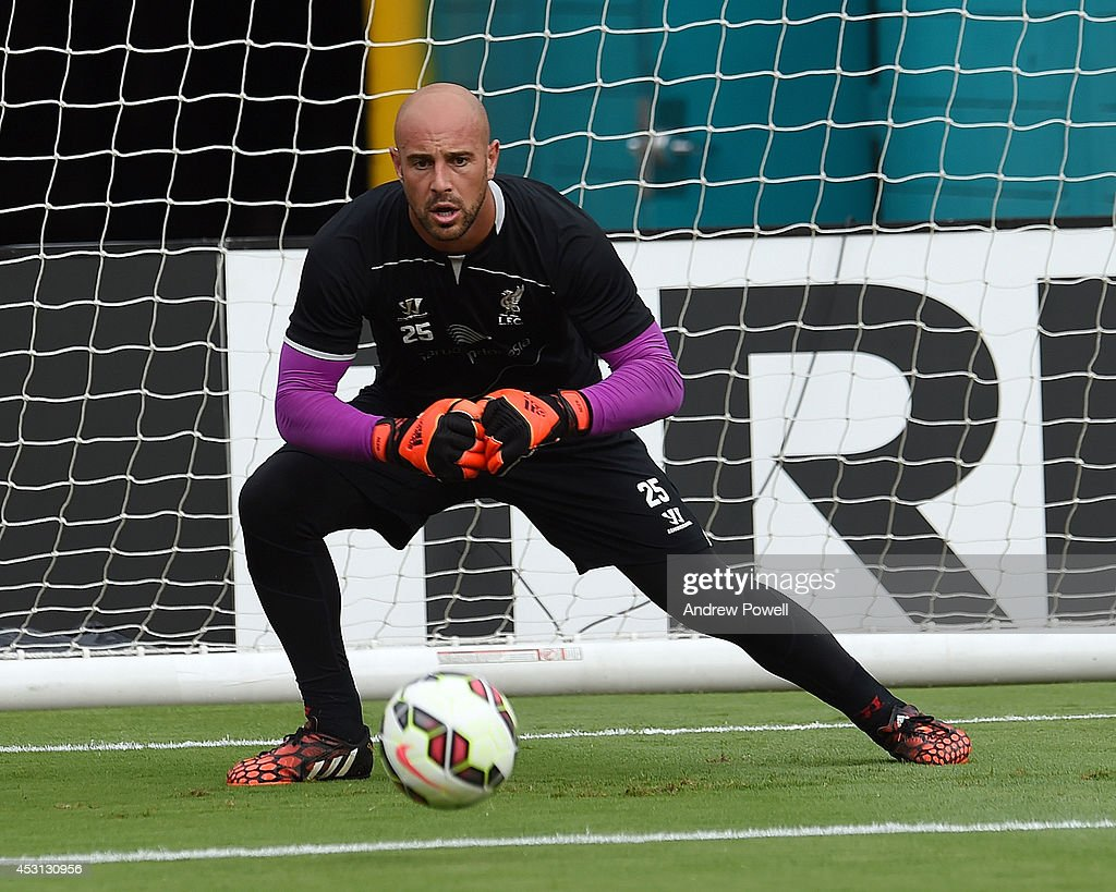 Pepe Reina of Liverpool in action during an open training session at Sunlife Stadium on August 3, 2014 in Miami, Florida.