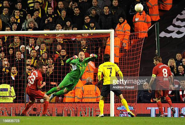 Pepe Reina of Liverpool punches the ball clear during the UEFA Europa League Group A match between Liverpool and BSC Young Boys at Anfield on...