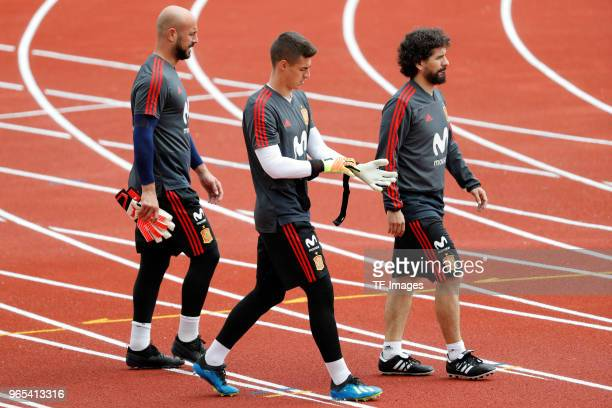 Pepe Reina of Spain and Kepa of Spain look on during a training session on May 29 2018 in Madrid Spain