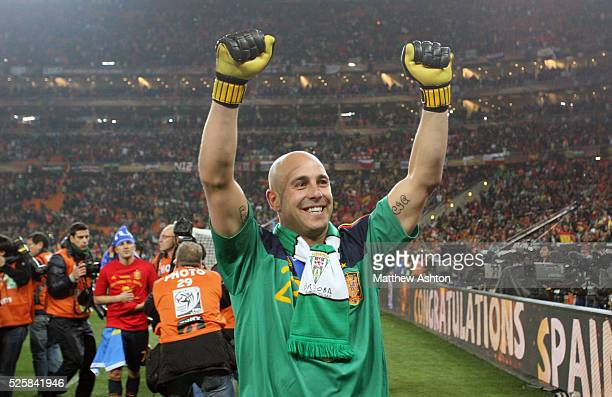 Pepe Reina of Spain celebrates Spain becoming the 2010 FIFA World Cup Champions