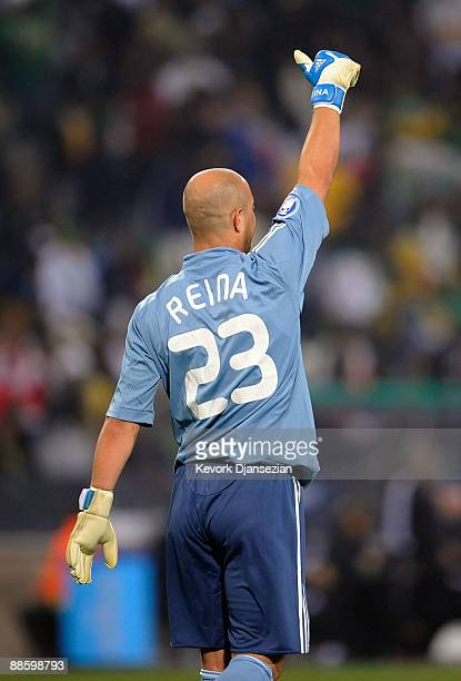 Pepe Reina of Spain celebrates teammate Fernando Llorente goal against South Africa during the FIFA Confederations Cup match between Spain and South...