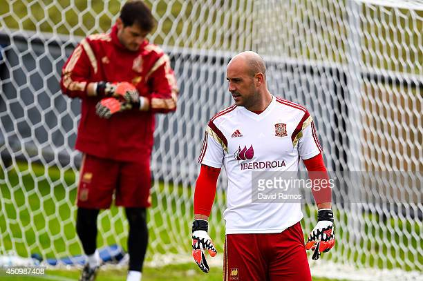 Pepe Reina of Spain looks on during a Spain training session at Centro de Entrenamiento do Caju on June 21 2014 in Curitiba Brazil