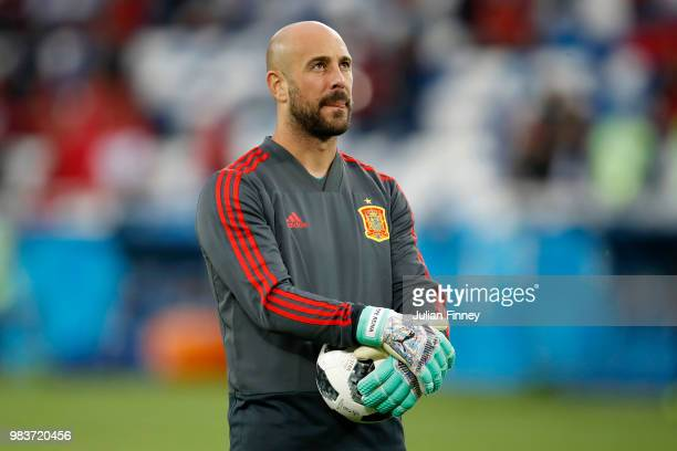 Pepe Reina of Spain looks on in the warm up prior to the 2018 FIFA World Cup Russia group B match between Spain and Morocco at Kaliningrad Stadium on...