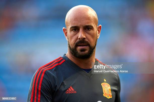Pepe Reina of Spain looks on prior to the International Friendly match between Spain and Switzerland at Estadio de La Ceramica on June 3 2018 in...