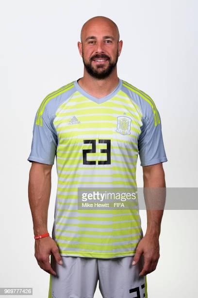 Pepe Reina of Spain poses for a portrait during the official FIFA World Cup 2018 portrait session at FC Krasnodar Academy on June 8 2018 in Krasnodar...