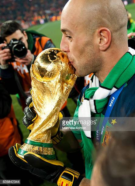 Pepe Reina of Spain with the FIFA World Cup Trophy