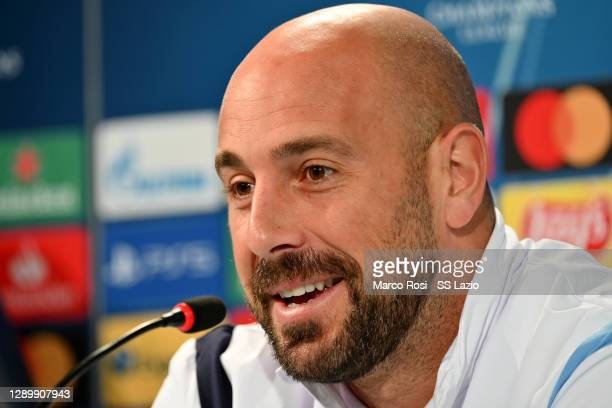 Pepe Reina of SS Lazio during the press conference ahead of the UEFA Champions League Group F stage match between SS Lazio and Club Brugge KV at the...
