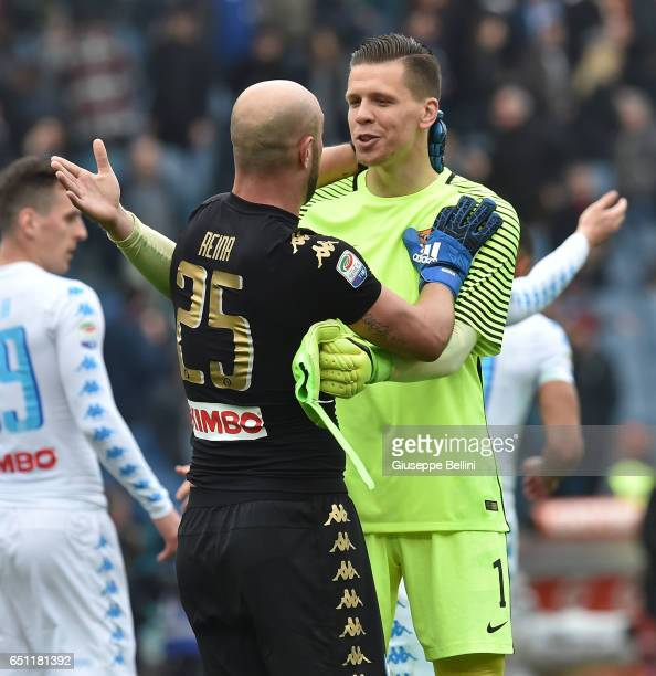 Pepe Reina of SSC Napoli and Wojciech Szczesny of AS Roma after the Serie A match between AS Roma and SSC Napoli at Stadio Olimpico on March 4 2017...