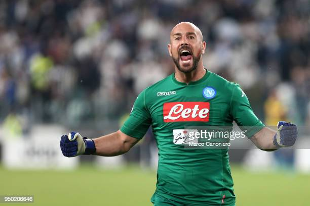 Pepe Reina of Ssc Napoli celebrate at the end of the Serie A football match between Juventus Fc and Ssc Napoli. Ssc Napoli wins 1-0 over Juventus Fc.