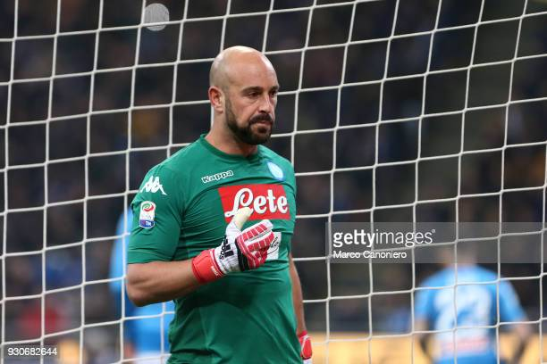 Pepe Reina of Ssc Napoli during the Serie A football match between Fc Internazionale and Ssc Napoli The final score was 00
