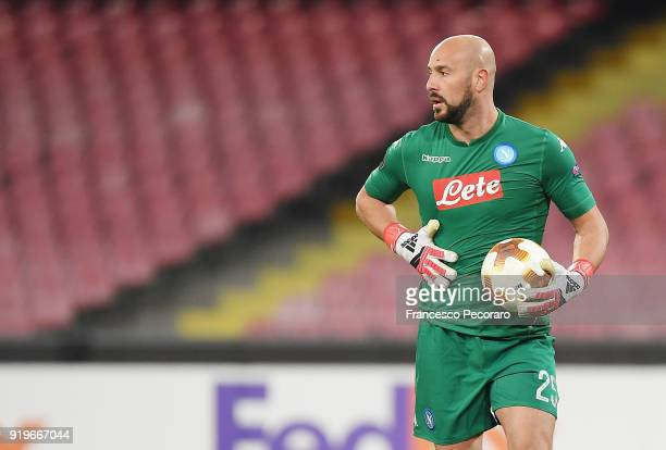 Pepe Reina of SSC Napoli in action during UEFA Europa League Round of 32 match between Napoli and RB Leipzig at the Stadio San Paolo on February 15...