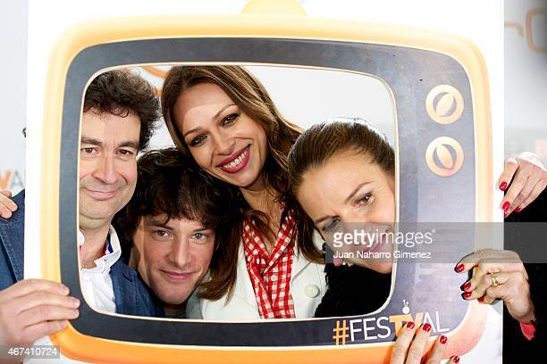 Pepe Rodriguez Rey Jordi Cruz Eva Gonzalez and Samantha VallejoNajera attend 'MasterChef' event during FesTVal Murcia 2015 on March 24 2015 in Murcia...