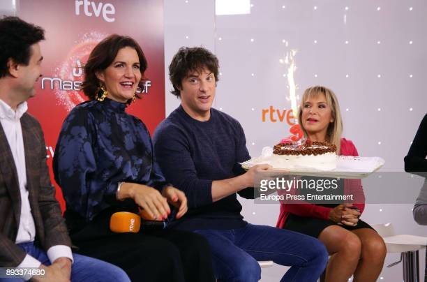 Pepe Rodriguez Rey Samantha VallejoNagera and Jordi Cruz attend the presentation of a new seson of 'Masterchef Junior' at TVE studios on December 14...