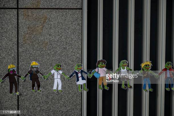 Pepe the Frog stickers are seen in Hong Kong on September 28 Pro Democracy Protester Have Been Protesting across Hong Kong for the past few months...