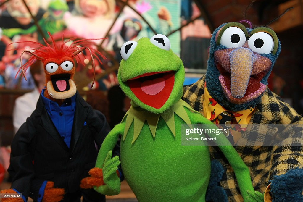 Pepe the King Prawn, Kermit the Frog and Gonzo the Great appear at the Whatnot Workshop at FAO Schwarz on November 11, 2008 in New York City.