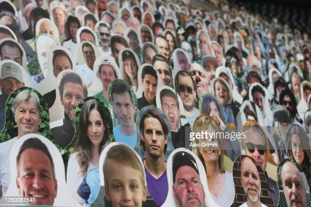 A peper cutout of Yann Sommer of Borussia Moenchengladbach is seen in the stands prior to the Bundesliga match between Borussia Moenchengladbach and...