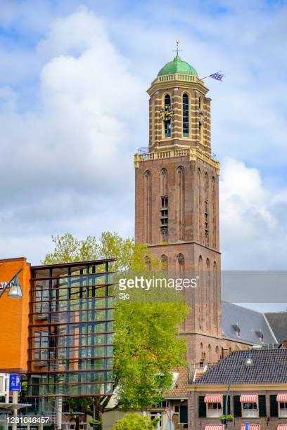 """peperbus church tower in zwolle during a springtime day - """"sjoerd van der wal"""" or """"sjo"""" stock pictures, royalty-free photos & images"""