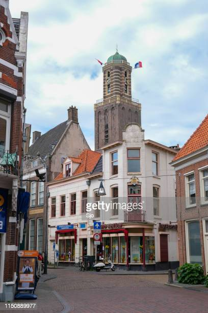 Peperbus tower in Zwolle with dutch flags on liberation day